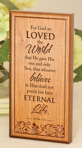 John 3:16, Engraved Wood Plaque