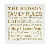 Personalized, Wooden Sign, 10x10, Family Rules, White