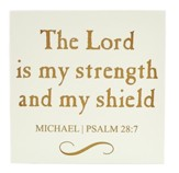 Personalized, Wooden Sign, 10x10, Lord Is My Shield,  White