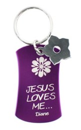 Personalized, Keyring with Flower Charm, Purple