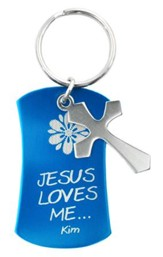 Personalized, Keyring with Cross Charm, Blue