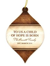 Personalized, Bulb Ornament, Brown, To Us A Child Of   Hope Is Born