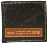 Genuine Leather Wallet John 3:16, Black