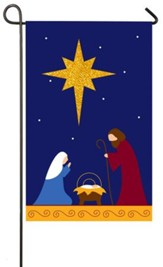 Nativity with Glitter Star Flag, Small