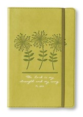 The Lord Is My Strength and My Song Lux-Leather Journal, Green, Flowers