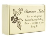 Personalized, Wooden Box, Song 4:7, Cream