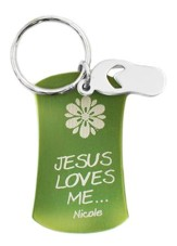Personalized, Keyring with Flip Flop Charm, Green