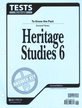 BJU Heritage Studies 6, Tests Answer Key
