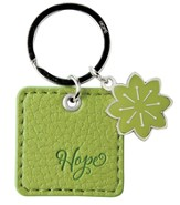 Hope, LuxLeather Keyring, Green