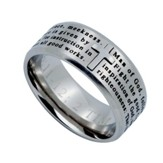 Man of God Logos Men's Ring Silver, Size 10 (1Timothy 6:11)