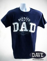 Blessed To Be A Dad Shirt, Navy, Large (42-44)