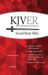 KJVer (Easy Reader) Large Print Sword Study Bible, Personal Size, Genuine Leather Black, Thumb Indexed