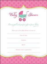 Baby Shower Invitation, Girl, Box of 10