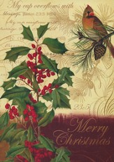 Holly And Cardinal (Psalm 33:22, NIrV), 20 Count Boxed Christmas Cards