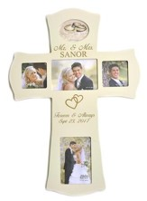 Personalized, Mr and Mrs Photo Cross, Large, White