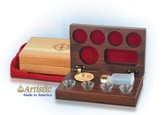 4-Cup Walnut Wooden Communion Set