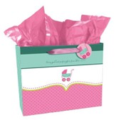 Carriage Gift Bag, Baby Girl , Large