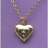 Child's Heart Locket with Debossed Cross