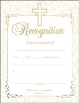 Embossed Recognition Certificates, Pack of 6