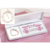 Baby Dedication Petal Cross Bracelet with Pink and White Cat's Eye