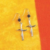 Curve Cross Earrings with Jet Bead Drop