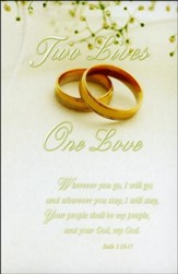 Two Lives, One Love (Ruth 1:16-17) Wedding Bulletins, 100