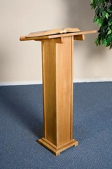 Square Base Lectern, Hardwood Maple with Pecan Finish