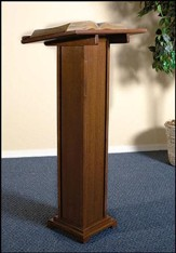 Square Base Lectern, Hardwood Maple with Walnut finish