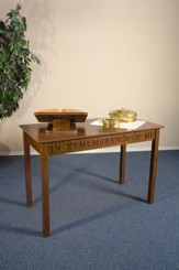 In Remembrance of Me Communion Table, Walnut Finish