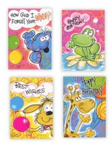 Party Animals Kids, Box of 12 Assorted Birthday Cards