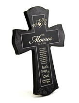 Personalized, Love Never Fails Cross, Black, Small