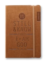 Be Still and Know Lux-Leather Journal, Brown