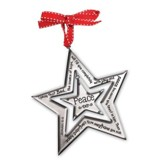 Peace Silver Star Ornament