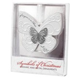Butterfly Ceramic Ornament, with Metal Accent