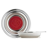 Silvertone Offering Plate with Red Pad, 12 5/8 inch diameter