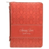 Amazing Grace Bible Cover, Lux-Leather, Coral, Medium