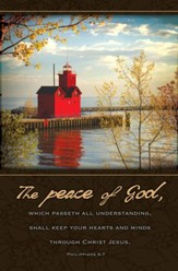 The Peace of God Red Lighthouse (Philippians 4:7) Bulletins, 100