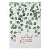 His Mercies Never End Journal, Lux Leather Flexcover, White with Ivy Design