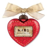King, Heart Ornament, Red