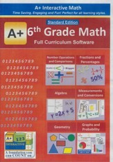A+ Interactive Math Full Curriculum  Grade 6 Standard Edition on CD-ROM