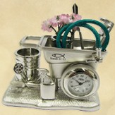 Gardening Wheelbarrow Desk Clock, Isaiah 61:11