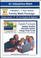 A+ Interactive 1 Year Online Math Family Package (1 Student)