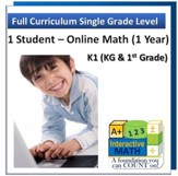 A+ Interactive Online Math Grade 1 Full Curriculum (1 Year)