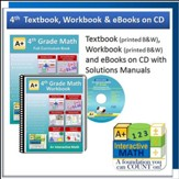 A+ Interactive Math Textbook,  Workbook & eBook CD Software Bundle, Grade 4