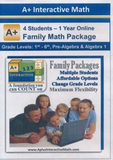 A+ Interactive 1 Year Online Math Family Package (4 Students)