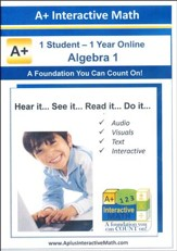 A+ Interactive Online Math Algebra 1 Full Curriculum (1 Year)