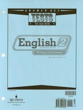 BJU English 2: Writing & Grammar,  Tests Answer Key (2nd Edition)