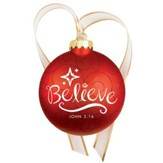 Christmas Swirls - Glass Ornament - Believe