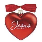 Jesus, Heart of Christmas Glass Heart Ornament