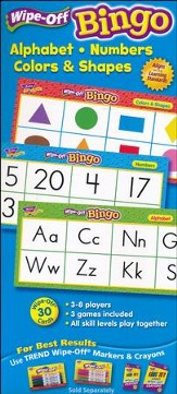 Alphabet, Numbers, Colors & Shapes Wipe-Off Bingo